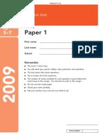 KS3 Science 2009 Paper 1 Level 5-7