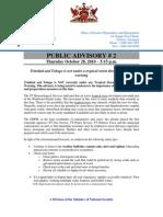 Public Advisory - October 28 # 2