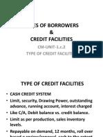 CM Unit 1.c.2 TYPES of Credit Facilities