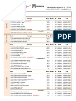 Tabela de preços polimet
