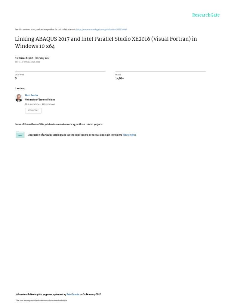 Linking ABAQUS 2017 | Microsoft Visual Studio | Microsoft Windows