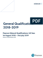 Pearson General Qualifications Fees 2018 19 v1