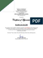 Plaque of Appreciation's Citation