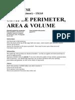 g9 Maths - Perimeter Area Volume