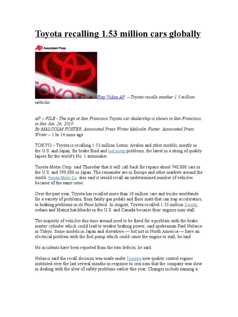 Toyota Recalling | Toyota | Lexus