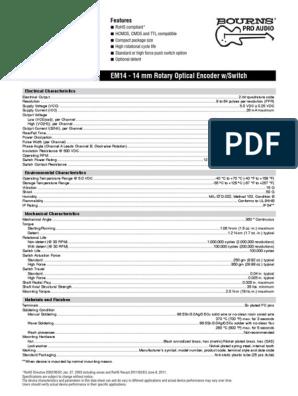 OPTICAL BOURNS EM14A0D-C24-L032N 14MM ROTARY ENCODER