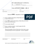 Grade 12 Daily Physical Activity Form