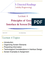 Lecture 4 - Principles of Good Interface & Screen Designs