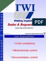 Duties of Welding Inspector