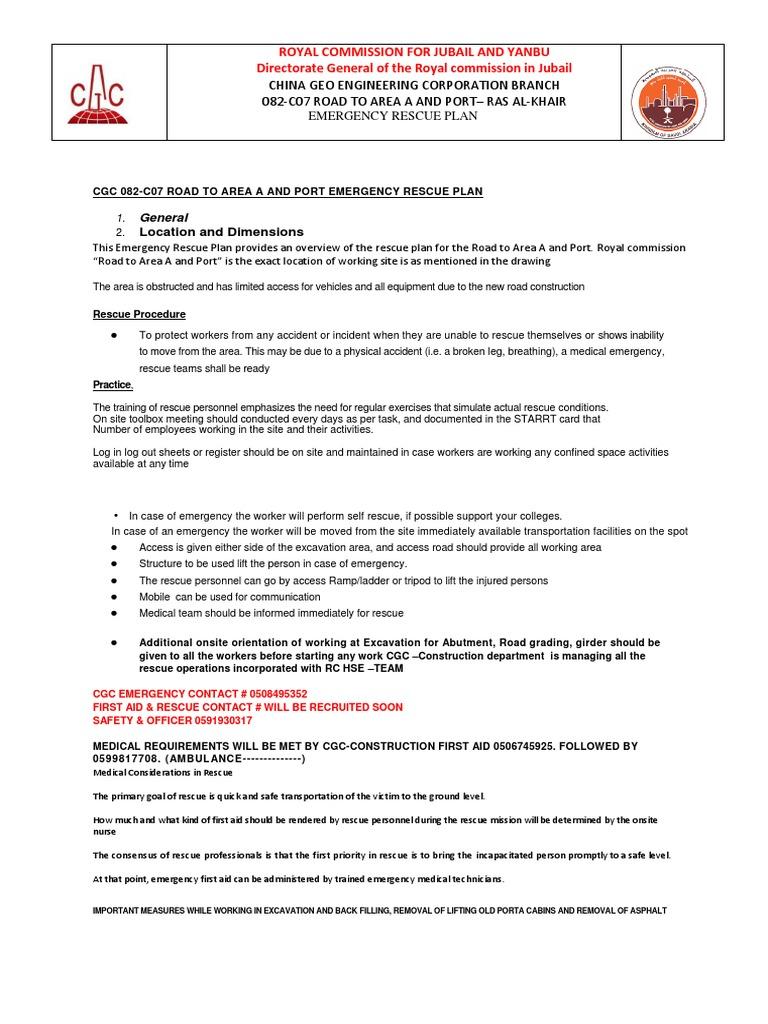 Emergency Rescue Plan Cgc082c07 Docx Emergency Safety