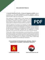 Declaración Pública - PC(AP) / MIR - NO MÁS AFP