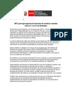 MTC Prorroga Vigencia de Licencias de Conducir Vencidas Entre El 1 y El 31 de Diciembre