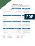 Calendario de Feriados Nacionais 2019 1