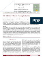 Role of Ethical Culture in Creating Public Value