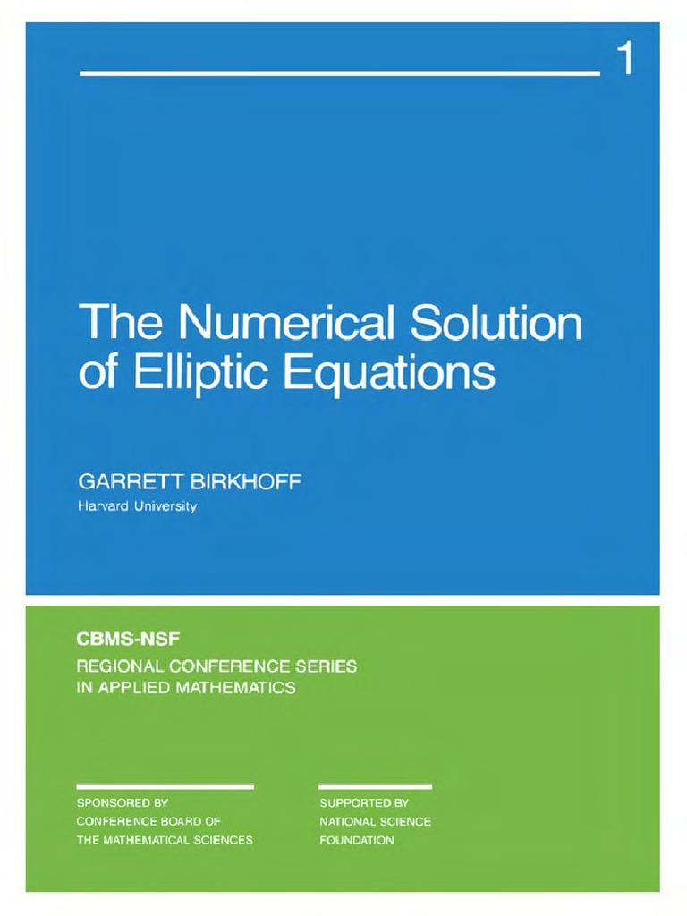 Birkhoff Numerical Solution Of Elliptic Equations Pdf