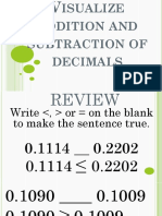 Visualize addition and subtraction of decimals