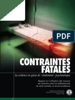 Contraintes Fatales La violence en guise de « traitement » psychiatrique