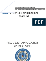 provider application manual