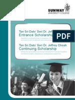 Entrance Scholarships - Sunway University College 2011