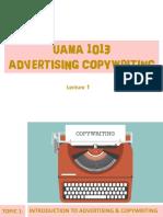 UAMA1013 Topic 1 Intro to Advertising Copywriting