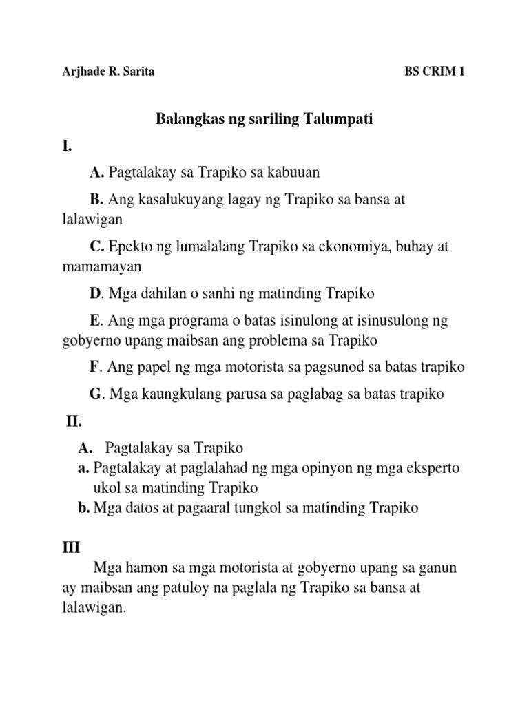 tagalog essay tungkol sa batas trapiko