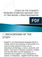 A Study on the Students Problem in Writing