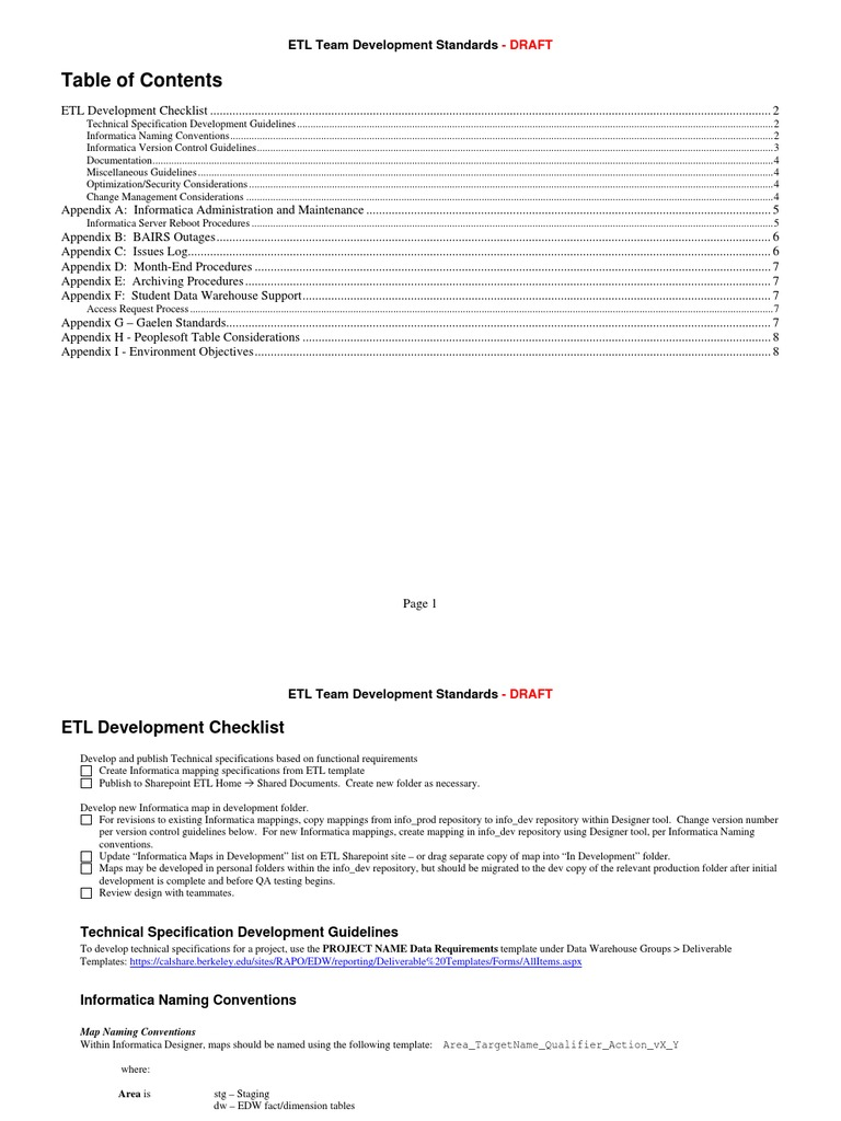 ETL Development Standards | Version Control | Information Management