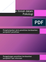 Penelitian Ilmiah Dalam Psikologi
