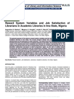 Reward System Variables and Job Satisfaction of Librarians in Academic Libraries in Imo State, Nigeria
