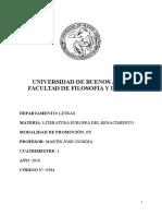 2019-1 Literatura Europea Del Renacimiento - Programa