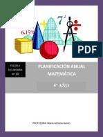 planificacion 5° Matemática ES N° 10