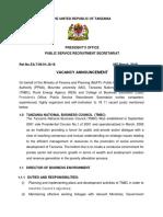 Tangazo La Kazi 28 Machi 2019 Tnbc Ministry of Finance and Planning Rea Mu and Cbe