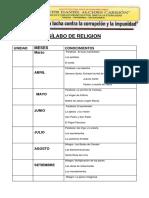 Silabus Cuarto Grado -Religion