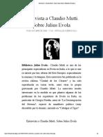 Entrevista a Claudio Mutti. Sobre Julius Evola | Biblioteca Evoliana