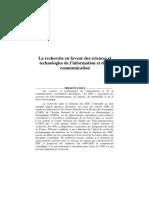 La Recherche en Faveur Des Sciences Et Technologies de l Information Et de La Communication