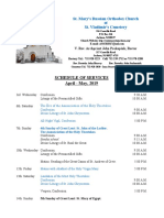 4 - 5. Schedule of Divine Services - April - May, 2019