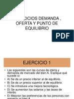 Ejercicios función Demanda, Oferta y Punto de Equilibrio