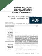 Metodología para calcular el tiempo de residencia en sistema digestor-prensa en plantas de beneficio