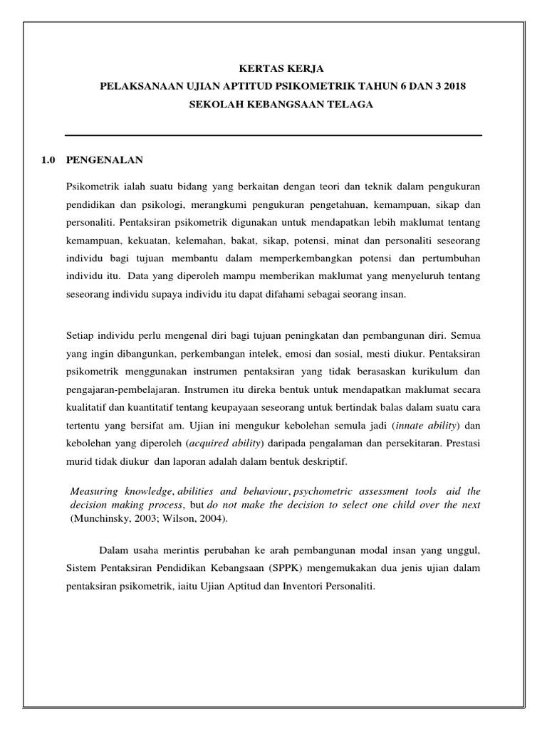 Kertas Kerja Pelaksanaan Ujian Aptitud Psikometrik Tahun 6 Dan 3 2018 Sekolah Kebangsaan Telaga