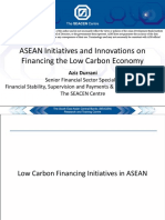 ASEAN Initiatives and Innovations on Financing the Low Carbon Economy