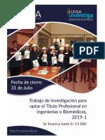 Trabajo de Investigacion Para Optar El Título Profesional en Ingenierias o Biomédicas 2019 1