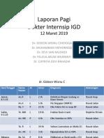 Laporan Pagi IGD 12 Maret 2019