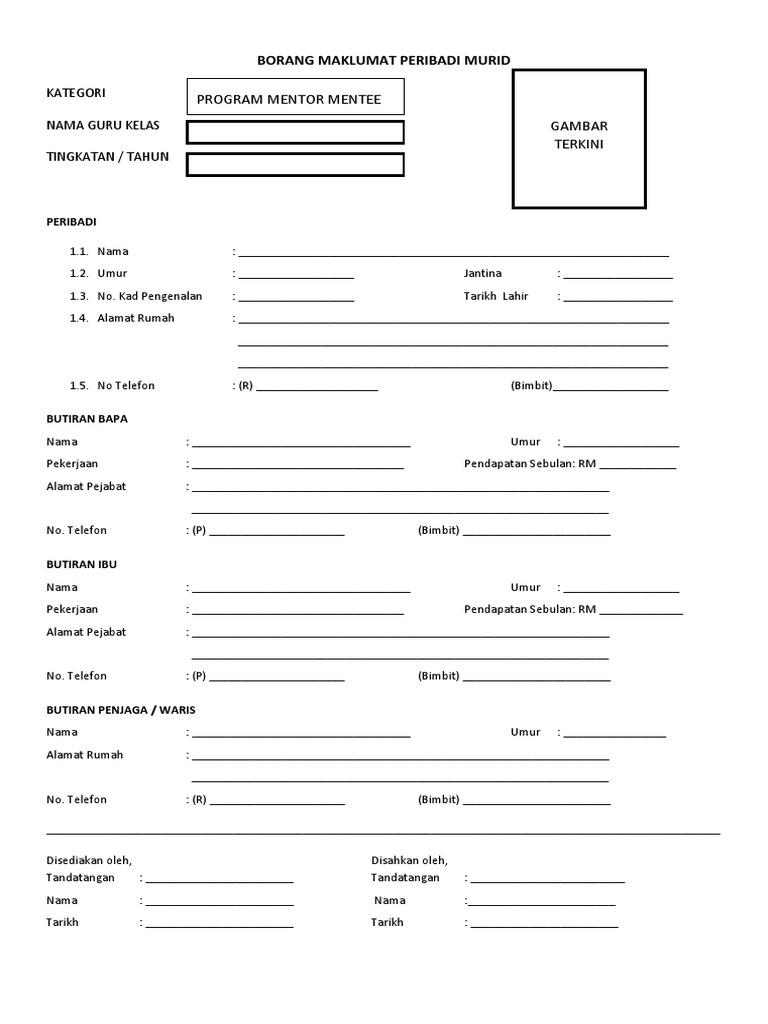 Borang Maklumat Murid Apdm Doc Document