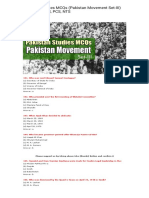 Pakistan Studies MCQs (Pakistan Movement) for FPSC, PMS, PCS, NTS