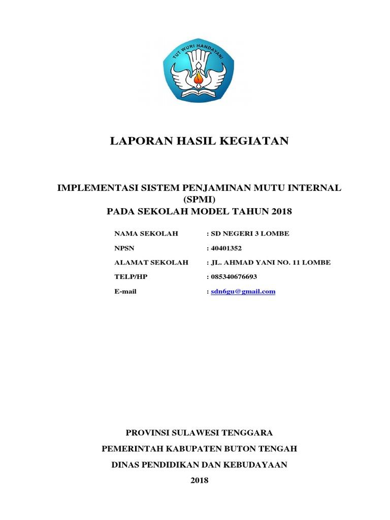 Contoh Laporan Pelaksanaan Spmi Sd