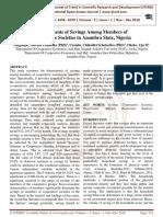 Determinants of Savings Among Members of Cooperative Societies in Anambra State, Nigeria