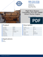 High Hour Runner Caterpillar 3412 DIT 540HP Diesel Marine Engine