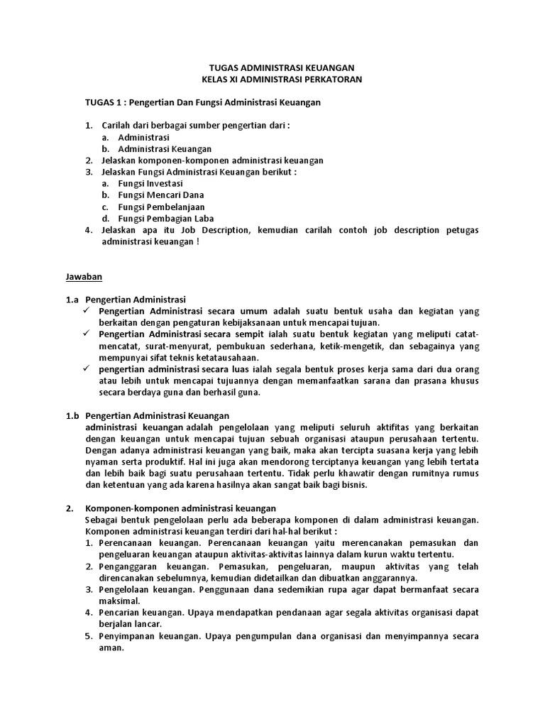 Soal Dan Jawaban Administrasi Keuangan Siswa Pkl 11 2017 Docx