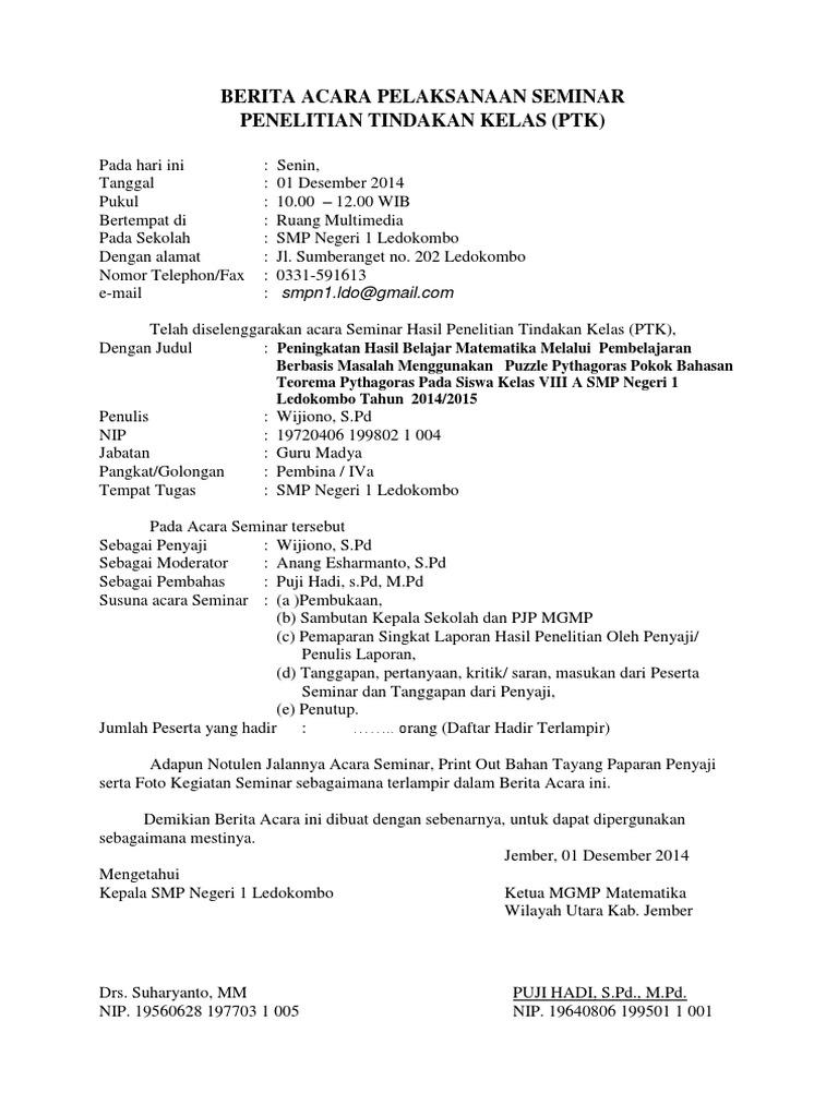Berita Acara Pelaksanaan Seminar Notulen Dan Daftdir Docx