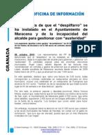 """El """"despilfarro"""" se ha instalado en el Ayuntamiento de Maracena"""